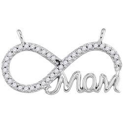 0.20 CTW Diamond Mom Infinity Pendant 10KT White Gold - REF-19Y4X