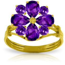 Genuine 2.43 ctw Amethyst Ring Jewelry 14KT Yellow Gold - REF-48R3P