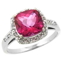 Natural 3.92 ctw Pink-topaz & Diamond Engagement Ring 14K White Gold - REF-35A2V