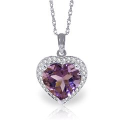 Genuine 3.24 ctw Amethyst & Diamond Necklace Jewelry 14KT White Gold - REF-59T3A