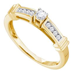 0.25 CTW Diamond Solitaire Bridal Engagement Ring 14KT Yellow Gold - REF-44W9K