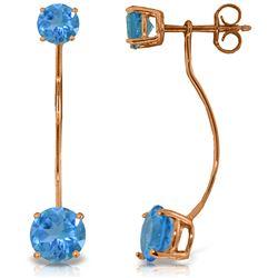 Genuine 4.3 ctw Blue Topaz Earrings Jewelry 14KT Rose Gold - REF-30K6V