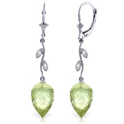 Genuine 19.02 ctw Green Amethyst & Diamond Earrings Jewelry 14KT White Gold - REF-51Y9F