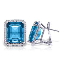 Genuine 15.6 ctw Blue Topaz & Diamond Earrings Jewelry 14KT White Gold - REF-136A3K