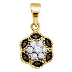 0.22 CTW Black Color Diamond Hexagon Cluster Pendant 10KT Yellow Gold - REF-10Y5X