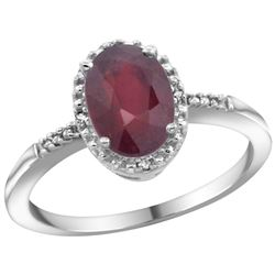 Natural 1.5 ctw Ruby & Diamond Engagement Ring 14K White Gold - REF-37Y3X