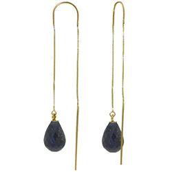 Genuine 6.6 ctw Sapphire Earrings Jewelry 14KT Yellow Gold - REF-20Z8N