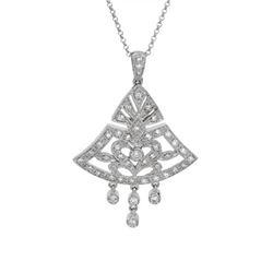 0.65 CTW Diamond Necklace 18K White Gold - REF-84Y2X