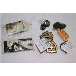 2 Hide Bracelets; 4 U.S. Cavalry Brass Ornaments; 2 Brass Toe Covers & 2 Sets of Bridle Rosettes