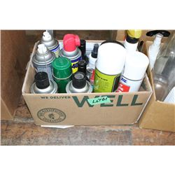 Box of Spray WD40, Cleaners, etc.