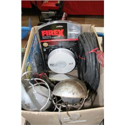 Box of - 2 Trouble Lights; Saw Blade; Trailer Wire & Smoke Detector