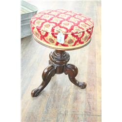 3 Footed, Upholstered Piano Stool