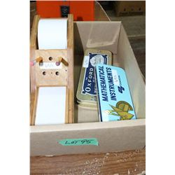 Box w/2 Old Mathematical Sets and a Note Holder