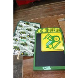 3 John Deere Items - Message Board, Sign & Bag