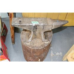 Large Heavy Anvil (approx. 60 - 70 lbs) on a Block
