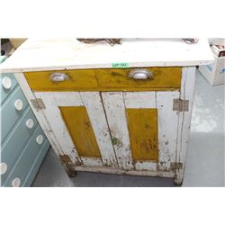 Canadiana Yellow & Bluish White Kitchen Cupboard