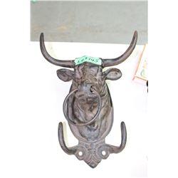 Cast Iron 'Bull Head' Hat Rack