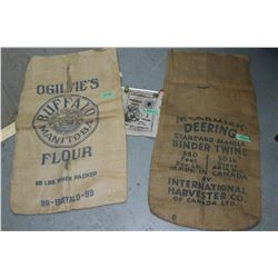 """2 Burlap Bags - """"McCormick Deering Binder Twine"""", """"Ogilvie's Flour"""" & """"Pioneer Brand"""" 1 Gal. Water B"""