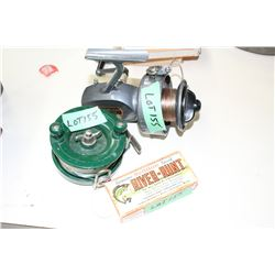 "2 Lrg. Fishing Reels & ""River-Runt Hook In Box"""
