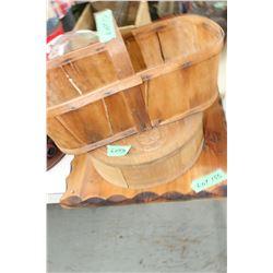 3 Wooden Items - Grape Box, Fish Box & Wooden Plaque