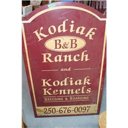 "Kodiak Ranch B & B Sign (approx. 30"" x 48"" high) - Wooden"