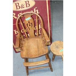 Wooden High Chair & Wooden Milking Stool