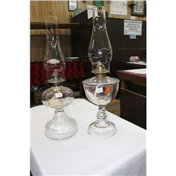 2 Oil Lamps - Both are Double Moulds -  1 is Patent July 23, 1872