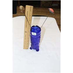Royal Blue Footed Hat Pin Holder with 2 Hat Pins
