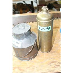 Old Brass Water Bottle & Copper Can with Lid