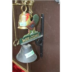 Cast Iron Wall Mount Rooster Welcome Bell