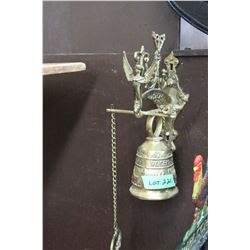 Brass 'Vochem-Meam-A Ovime-Tangit' Wall Mount Bell w/Pull Chain to Ring the Bell