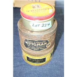 3 Round, Old Tobacco Tins