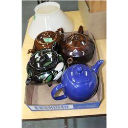 Box w/Teapots - 2 Medalta, 1 Electric & 1 Blue
