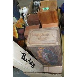 "Box of Liquor Boxes and ""Biddy Box"""
