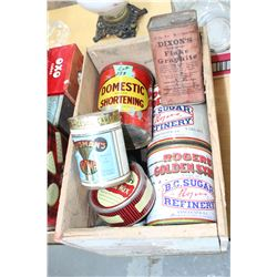 Wooden Box of Tins