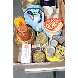 Box of Small Collector Tins