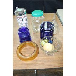 Box of Misc. Glassware - Blue Jar, Blue - Light Cover, etc.