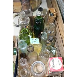 Box of Small, Assorted Bottles - Some are Coloured