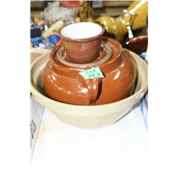 Medalta Bowl and Medalta #2 Bean Pot