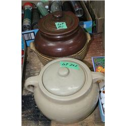 2 Bean Pots - 1 is Medalta #2 & 1 is J.B.K. Pottery