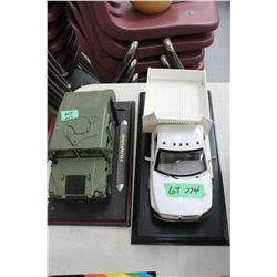 2 Mounted Toy Models - 1 is an Army Tank & 1 is Dodge Ram 3500