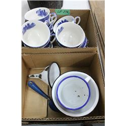 Box of Enamelware & Blue Trimmed Cups