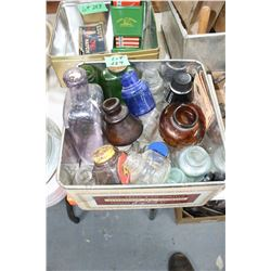Container of Assorted Bottles - Some are Coloured