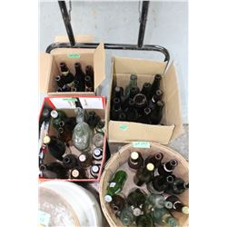 3 Boxes of Beer Bottles & 1 Basket of Beer Bottles