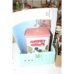 Mickey Mouse Toy; a Calendar & a Recipe Box