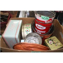 Box of Tins & Lard Pails