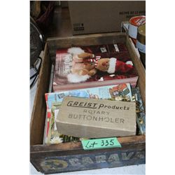 Box of Old Catalogs & Button Hole Maker