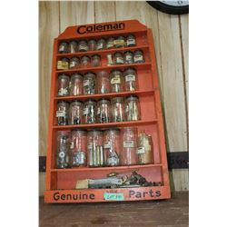 """Coleman Genuine Lamp Parts""  Shelving Unit.  This is a very Unique item as it has the original part"