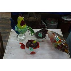 3 Glass Chicken Figurines and 1 Fish Figurine (the stand under the fish has been repaired)