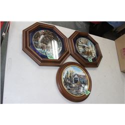 "Collection of 3 ""Georgina Jarvis"" Framed Plates - 'Magee's Bridge', 'Sap's Running' & 'Winter Loggin"